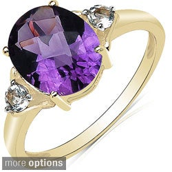 Malaika 10k White Gold Amethyst or Blue Topaz and White Topaz Ring