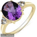 Malaika 10k Yellow Gold Amethyst or Blue Topaz Ring