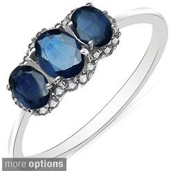 Malaika 10k White Gold Gemstone and 1/10ct TDW Diamond Ring (H-I, I2-I3)