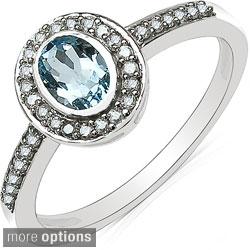 Malaika 10k White Gold Gemstone and 1/6ct TDW Diamond Ring (I-J, I2-I3)