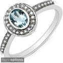 Malaika 10k White Gold Gemstone and 1/6ct TDW Diamond Ring (I-J, I2-I3)