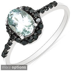 Malaika 10k White Gold Gemstone and 1/4ct TDW Black Diamond Ring