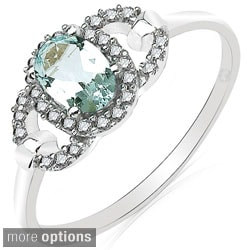 Malaika 10k White Gold Gemstone and 1/6ct TDW Diamond Ring (H-I, I2-I3)