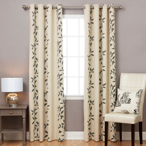 Aurora Home Leaf Print Blackout 84-inch Curtain Panel Pair