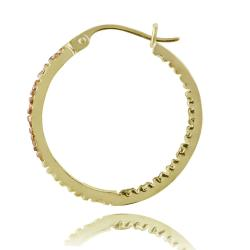 DB Designs 18k Two-tone Gold over Silver 20-mm Champagne Diamond Hoop Earrings