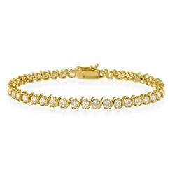 Icz Stonez Sterling Silver Cubic Zirconia 'S' Design Tennis Bracelet