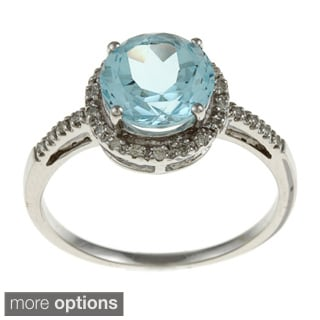 Viducci 10k Gold Blue Topaz and 1/8ct TDW Diamond Accent Ring (G-H, I1-I2)