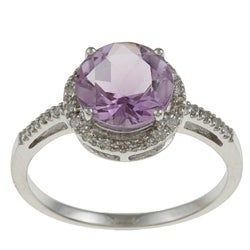 Viducci 10k Gold Amethyst and 1/8ct TDW Diamond Accent Ring (G-H, I1-I2)