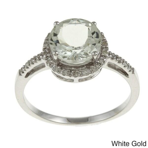Viducci 10k Gold Green Amethyst and 1/8ct TDW Diamond Accent Ring (G-H, I1-I2)