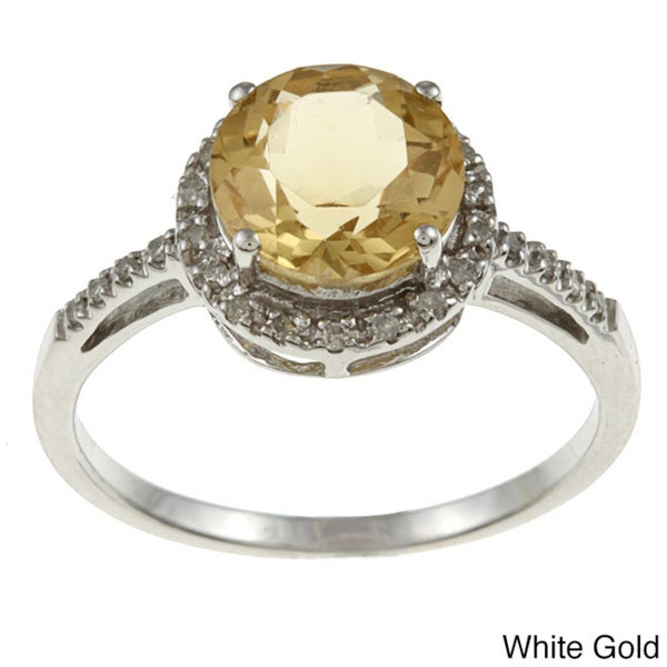 Viducci 10k Gold Citrine and 1/8ct TDW Diamond Accent Ring (G-H, I1-I2)
