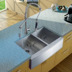Vigo Farmhouse 36x20-inch Stainless Steel Kitchen Sink/ Faucet/ Two Grids/ Two Strainers/ Dispenser