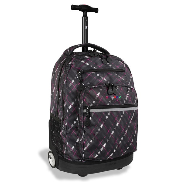J World Sundace Preppy Purple Rolling 15-inch Laptop Backpack