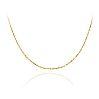 Mondevio 18k Gold over Silver 24-inch Twisted Box Chain Necklace