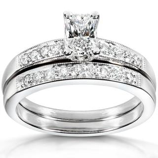 Annello 14k White Gold 7/8ct TDW Diamond Bridal Ring Set (F-G, VS1-VS2)