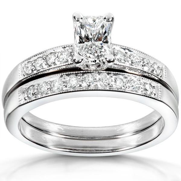 Annello 14k White Gold 7/8ct TDW Diamond Bridal Ring Set (F-G, VS1-VS2)