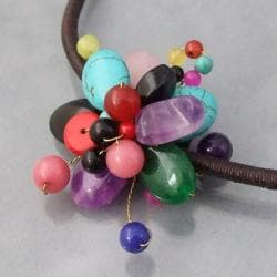 Cotton Rope Multicolor Flower Cluster Stone Choker Necklace (Thailand)