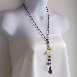 Brass Butterfly Amethyst/ Crystal Rosary Style Necklace (Thailand)