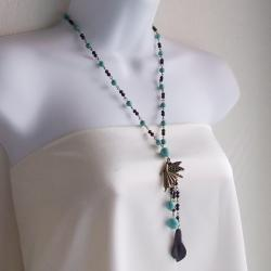 Brass Fairy Bead Turquoise/ Crystal Rosary Style Necklace (Thailand)