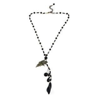 Brass Fairy Bead Onyx and Crystal Rosary Style Necklace (Thailand)
