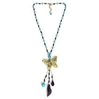 Brass Butterfly Bead Turquoise and Crystal Rosary Necklace (Thailand)
