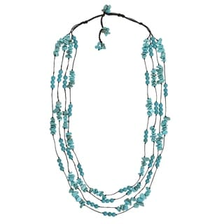 Cotton Rope Mod Reconstructed Turquoise Layered Necklace (Thailand)