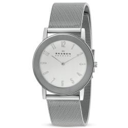 Skagen Men's Stainless Steel Mesh Band Mirrored Bezel Watch