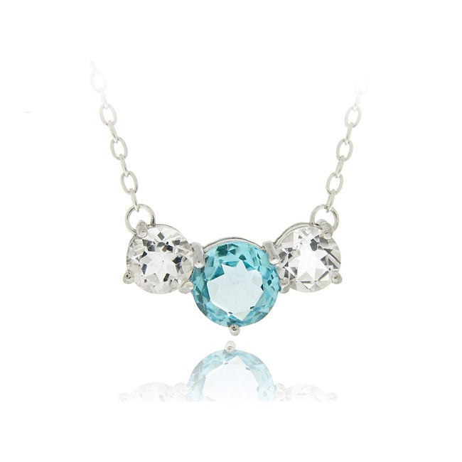 Glitzy Rocks Sterling Silver White and Swiss Blue Topaz Necklace