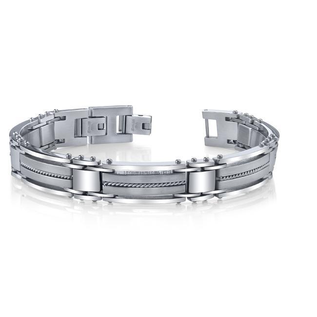 Stainless Steel Men's Wire Inlay Link Bracelet