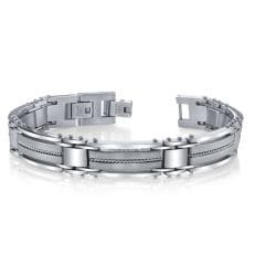 Stainless Steel Men's Wire Inlay Link Bracelet