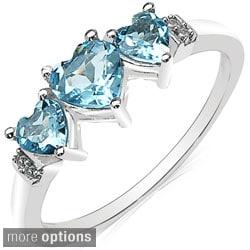 Malaika 10k White Gold Gemstone and Diamond Accent Ring