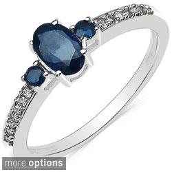Malaika 10k White Gold Gemstone and 1/10ct TDW Diamond Ring (I-J, I2-I3)