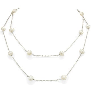 DaVonna Silver Chain and White Freshwater Pearl 36-inch Necklace (7 - 7.5mm)