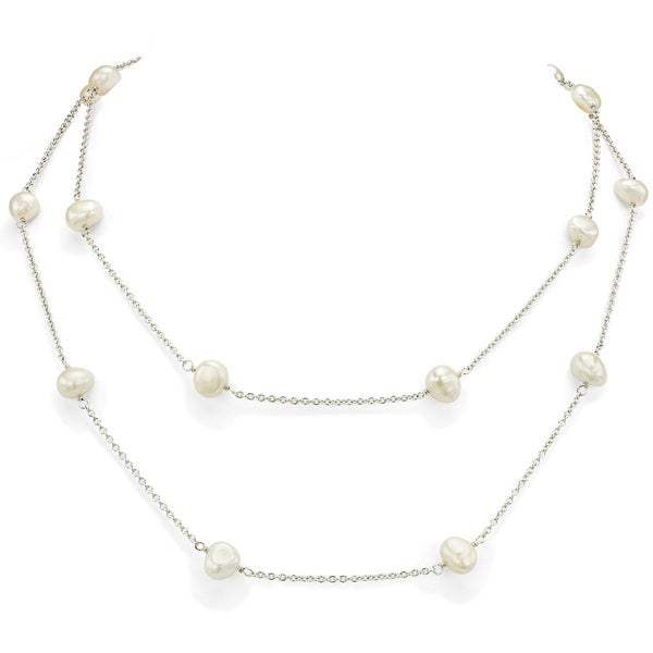 DaVonna Silver Chain and White Freshwater Pearl 36-inch Necklace (7 - 7.5mm) 8100189