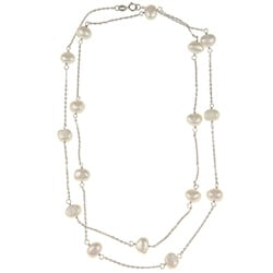 DaVonna Silver Chain and White FW Pearl 36-inch Necklace (7-7.5 mm)