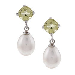 DaVonna Silver FW Pearl and Quartz Dangle Earrings (8-8.5 mm)
