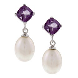 DaVonna Silver FW Pearl and Amethyst Dangle Earring (8-8.5 mm)