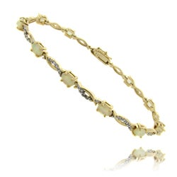 Dolce Giavonna 18k Gold over Silver Simulated Opal and Diamond Accent Twist Bracelet