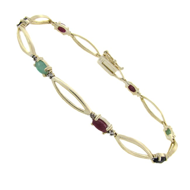 Dolce Giavonna 18k Gold over Silver Ruby, Sapphire, Emerald and Diamond Accent Twist Bracelet