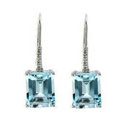 Viducci 10k White Gold Blue Topaz and Diamond Accent Earrings (G-H, I1-I2)