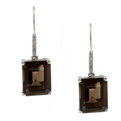 Viducci 10k White Gold Smokey Quartz and Diamond Earrings