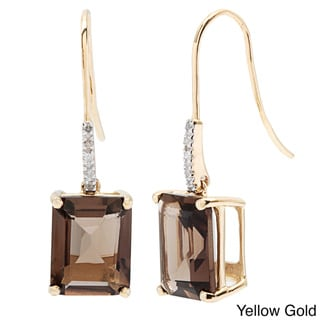 Viducci 10k Gold Smokey Quartz and Diamond Accent Earrings