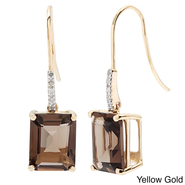Viducci 10k Gold Smokey Quartz and Diamond Accent Earrings