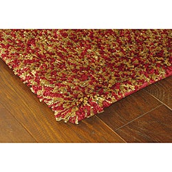 Manhattan Tweed Red/ Gold Shag Rug (2'3 x 7'9)