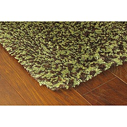 Manhattan Tweed Green/ Brown Shag Rug (4' x 6')