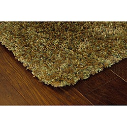 Manhattan Tweed Green/ Gold Shag Rug (4' x 6')