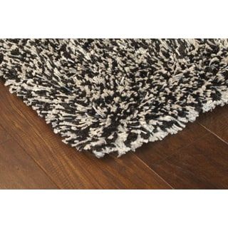 Manhattan Tweed Black/ Ivory Shag Rug (4' x 6')