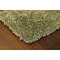 Manhattan Tweed Green/ Blue Shag Rug (5' x 8')