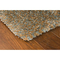 Manhattan Tweed Blue/ Gold Shag Rug (5' x 8')