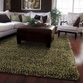 Manhattan Tweed Green/ Brown Shag Rug (5' x 8')
