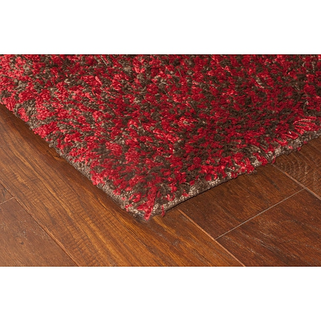 Manhattan Tweed Red/ Brown Shag Rug (5' x 8')